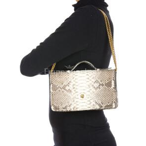 DINA : borsa donna in pelle di pitone, a mano, colore : ROCCIA, Made in Italy