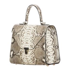 MIRANDA : borsa donna in pelle di pitone, a mano, colore : ROCCIA, Made in Italy (Borsa)