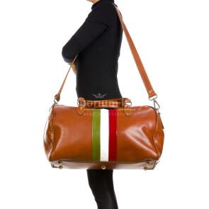 COMO MAXI: borsa da viaggio in cuoio, tricolore, colore : MARRONE, Madei un Italy (Borsa)