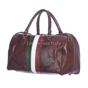 COMO MAXI : borsa da viaggio in cuoio, tricolore, colore : TESTAMORO, Made in Italy