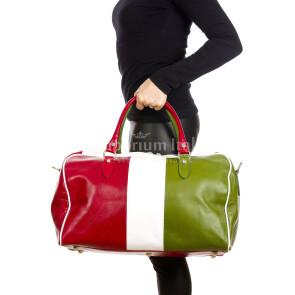 COMO MAXI : borsa da viaggio in cuoio, tricolore, colore : TRICOLORE, Madei un Italy