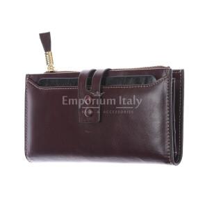 IRIS : portafoglio donna in pelle morbida cerata, colore :TESTAMORO, Made in Italy