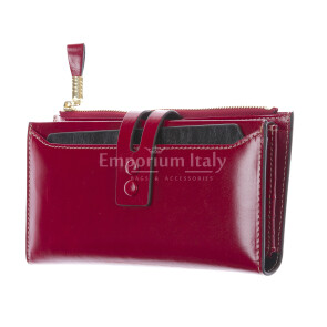 IRIS : portafoglio donna in pelle morbida cerata, colore : ROSSO, Made in Italy