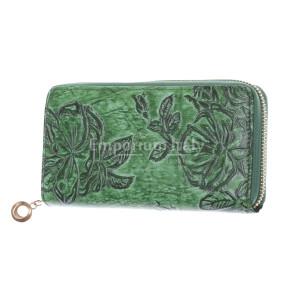AZALEA : portafoglio donna in cuoio, colore : VERDE, Made in Italy