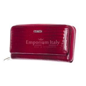 DALIA : portafoglio donna in pelle laccata, colore : ROSSO, Made in Italy