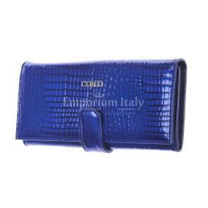 MELISSA : portafogli donna in pelle laccata, colore : BLU, Made in Italy