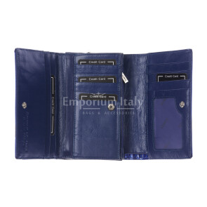 Lilia : portafoglio donna in pelle laccata, colore : BLU, Made in Italy