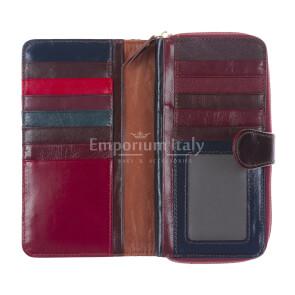 AGRIFOGLIO : portafogli donna in pelle intrecciata, colore : MULTICOLOR, Made in Italy