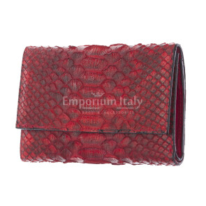 Genuine python skin wallet for woman GERBERA, CITES CERTIFIED, RED colour, SANTINI, MADE IN ITALY