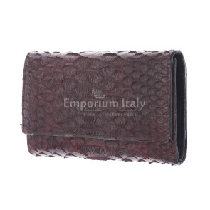 Genuine python skin wallet for woman GERBERA, CITES CERTIFIED, DARK BROWN colour, SANTINI, MADE IN ITALY