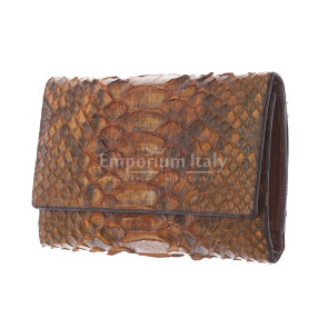 Genuine python skin wallet for woman GERBERA, CITES CERTIFIED, BROWN colour, SANTINI, MADE IN ITALY