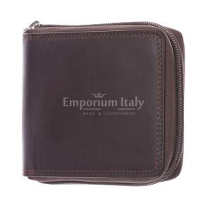 BENIN: мужской кожаный кошелек на молнии, цвет: ТЕМНО-КОРИЧНЕВЫЙ, сделано в Италии