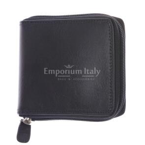 BENIN: мужской кожаный кошелек на молнии, цвет: ЧЕРНЫЙ, сделано в Италии