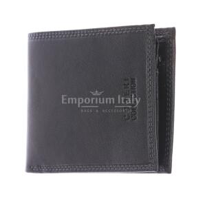 TOGO: portafoglio uomo in pelle morbida, colore: NERO, Made in Italy