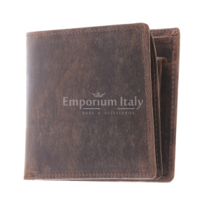 Genuine nubuck leather wallet for man NUOVA ZELANDA, BROWN colour, MAESTRI, MADE IN ITALY