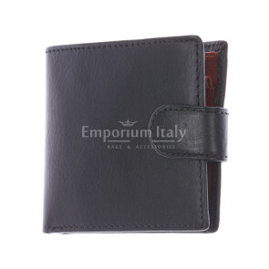 LESOTHO: мужской кожаный кошелек, цвет: ЧЕРНЫЙ / МЕДОВЫЙ, сделано в Италии