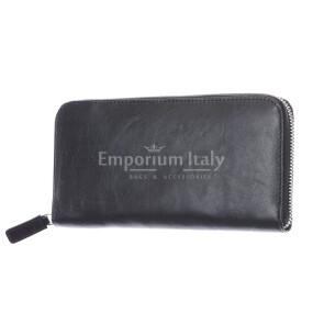 PARAGUAY: мужской кожаный кошелек макси, цвет: ЧЕРНЫЙ, сделано в Италии