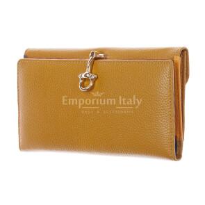 Portafoglio in vera pelle da donna MIMOSA MAXI, colore GIALLO, SANTINI, MADE IN ITALY