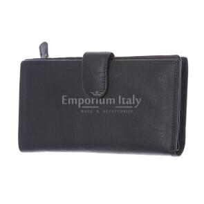 BAHAMAS: мужской макси кошелек из кожи с застежкой, цвет: ЧЕРНЫЙ, сделано в Италии