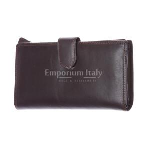 BAHAMAS: мужской макси кошелек из кожи с застежкой, цвет: ТЕМНО КОРИЧНЕВЫЙ, сделано в Италии