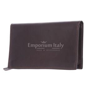 BARBADOS: мужской макси кошелек из кожи, цвет: ТЕМНО КОРИЧНЕВЫЙ , сделано в Италии