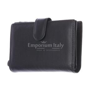 BAHAMAS MINI: portafoglio uomo in cuoio con la chiusura, colore: NERO, Made in Italy