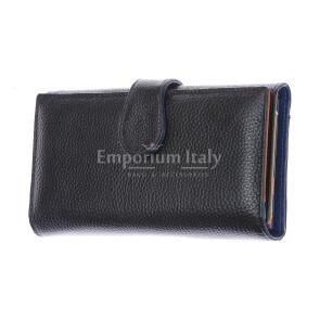 SALVIA: portafoglio donna in pelle morbida, colore: NERO / MULTICOLOR, Made in Italy