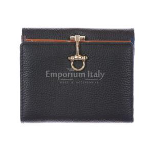 Portafoglio in vera pelle da donna MIMOSA, colore NERO, SANTINI, MADE IN ITALY