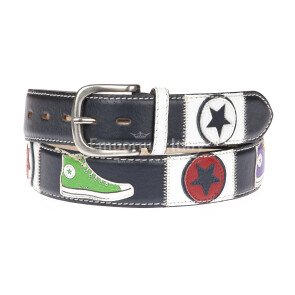 CONVERSE: men's leather belt, colour: BLUE / MULTICOLOR, Made in Italy
