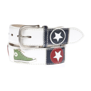 CONVERSE: men's leather belt, multicolor shoes, colore : BIANCO / MULTICOLOR, Made in Italy