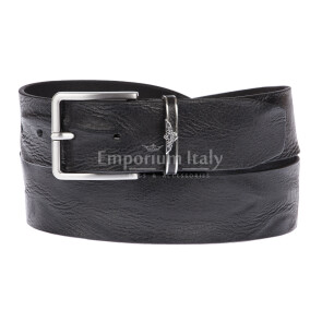 AQUILA: man's leather belt, draping effect, color: BLACK, Made in Italy