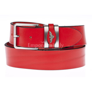 PORTLAND MEDIUM: men's / ladies leather belt, 3 cm height, color: RED, Made in Italy