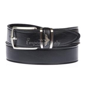PORTLAND MEDIUM: men's / ladies leather belt, 3 cm height, color: BLACK, Made in Italy