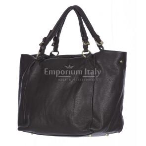 Borsa donna ELODY a spalla in vera pelle morbida, Colore TESTA DI MORO, DELIA REI Made in Italy