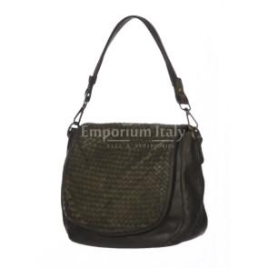 Borsa donna ZOE a spalla in vera pelle morbida, colore TESTA DI MORO, VINTAGE, CHIARO SCURO, Made in Italy