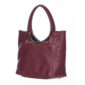 Borsa donna MATILDE a spalla in vera pelle morbida martellata, colore BORDEAUX, CHIARO SCURO, Made in Italy