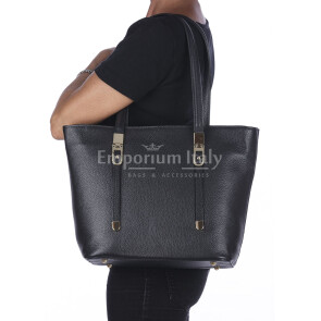 Borsa donna MONIA a spalla in vera pelle rigida martellata, colore NERO, DELIA REI, Made in Italy