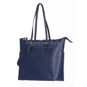 Borsa a spalla donna AMBRA in vera pelle rigida saffiano, colore BLU, SANTINI, Made in Italy