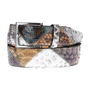 Cintura uomo TRIPOLI C32,vera pelle pitone certificato CITES, TESTA MORO/GRIGIO/MIELE, Rino Dolfi, Made in Italy