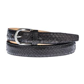 Cintura uomo FERRARA, vera pelle pitone certificato CITES, colore NERO, RINO DOLFI, Made in Italy