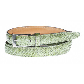 Cintura uomo/donna AMALFI vera pelle pitone certificato CITES, colore VERDE, ELIO ZAGATO, Made in Italy