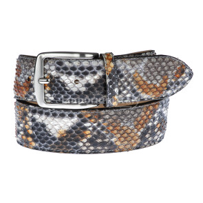 Cintura uomo BEIRUT C23, vera pelle pitone certificato CITES, colore NERO/GRIGIO/MIELE, ELIO ZAGATO, Made in Italy