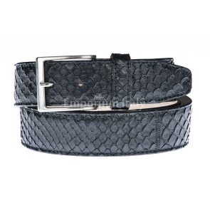 Cintura uomo BEIRUT C220, vera pelle pitone certificato CITES, colore NERO, ELIO ZAGATO, Made in Italy