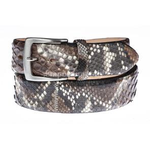 Cintura uomo BEIRUT C25, vera pelle pitone certificato CITES, colore MARRONE/NERO/BIANCO, ELIO ZAGATO, Made in Italy
