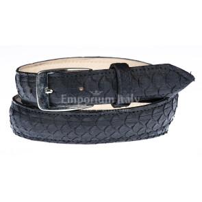 Cintura uomo VENEZIA, vera pelle pitone certificato CITES, colore NERO, RINO DOLFI, Made in Italy