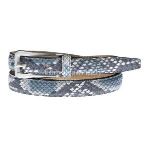 Cintura uomo/donna DIAMANTE vera pelle pitone certificato CITES, colore BLU/AZZURRO, ELIO ZAGATO, Made in Italy