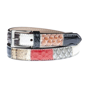 Cintura uomo SIRACUSA, vera pelle pitone certificato CITES, MULTICOLORE, RINO DOLFI, Made in Italy