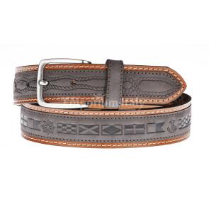 Cintura uomo in vera pelle MONTEFALCO, colore TESTA MORO/MARRONE, RINO DOLFI, Made in Italy