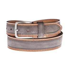 Cintura uomo in vera pelle MONTECCHIO, colore TESTA MORO/MARRONE, RINO DOLFI, Made in Italy
