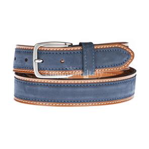 Cintura uomo in vera pelle MONTECCHIO, colore BLU/MARRONE, RINO DOLFI, Made in Italy